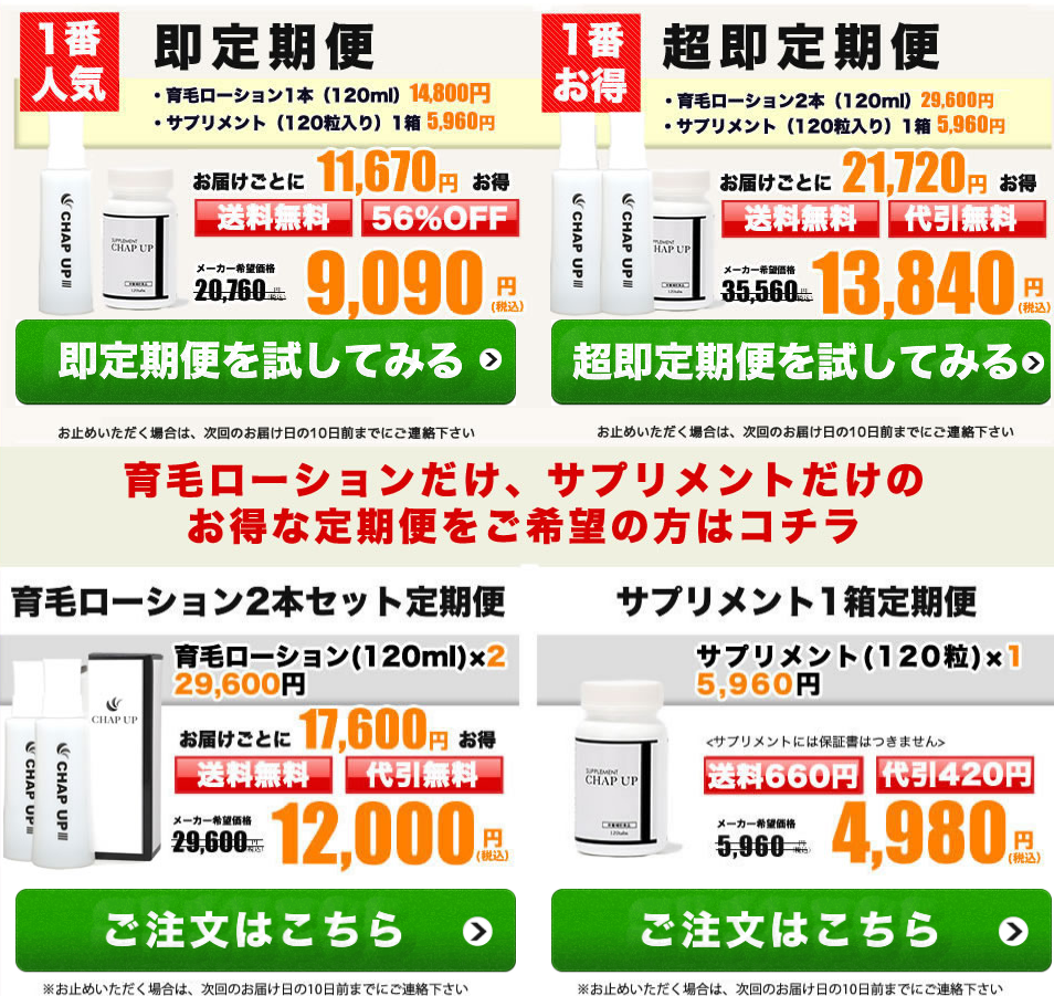 チャップアップ公式・定期購入のコースと価格